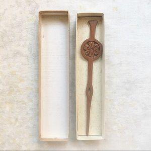 VTG Japanese Wood Decorative Ornament Stick Hair
